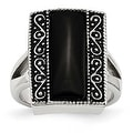 Chisel Stainless Steel Black Onyx Antiqued Rectangular Ring (17 mm) - Thumbnail 0