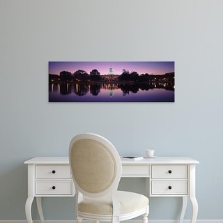 Easy Art Prints Panoramic Image 'Reflection of a government building, Capitol Building, Washington DC' Canvas Art