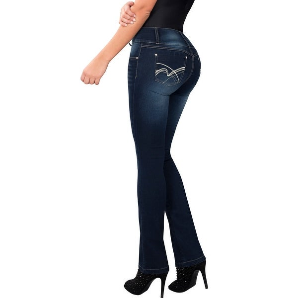Butt Lifter Fashion Skinny Jeans High Rise Waist Push Up Authenthic Levanta Cola Colombianos Blue 502GR by Fiorella Shapewear