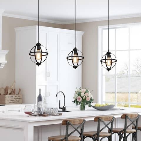 """Modern Farmhouse 1-light Black Orb Pendant Ceiling Lights for Dining Room - D9.44"""" * H13.38"""""""