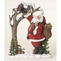 "9.75"" Joseph's Studio Santa Claus with Birds Christmas Wafer Decoration - RED"