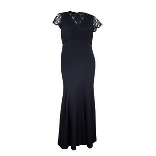 Betsy & Adam Women's Surplice V-Neck Lace Jersey Gown - Black - 16W