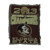 2013 Championship Florida State Seminoles Tapestry Throw Blanket 46 X 60 - DARK RED
