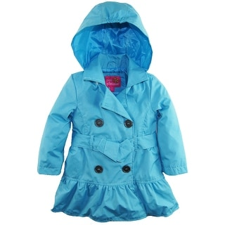 Pink Platinum Toddler Girls Spray Print Hooded Trench Spring Jacket with Belt