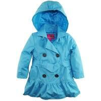 Pink Platinum Toddler Girls Spray Print Hooded Trench Spring Jacket with Belt