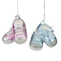 8 Fashion Ave Noble Gems Pink and Blue Glass Baby Sneaker Christmas Ornaments - multi