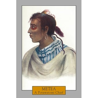 Metea - Portrait of a Potawatomi Chief - Vintage Haltone (Cotton/Polyester Chef's Apron)
