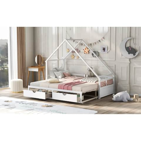 AOOLIVE Twin-King Expandable Wooden Daybed with 2 Drawers