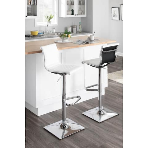 Porch & Den Tower Master Contemporary Adjustable Bar Stool in Faux Leather - N/A