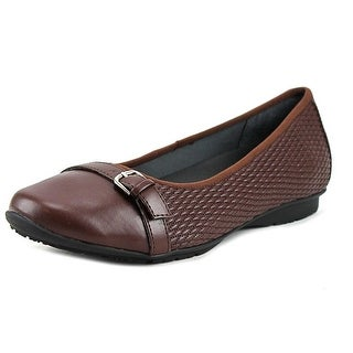 FootSmart Laura Women WW Round Toe Synthetic Brown Flats