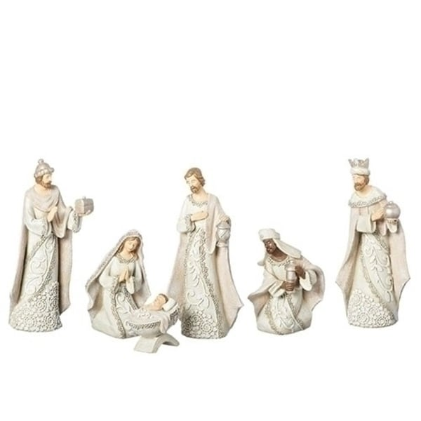 6 Piece Set of Ivory Lace Nativity Figures 7.5""