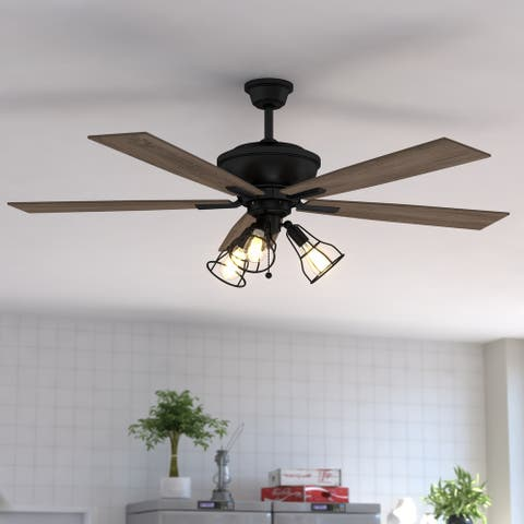 Clybourn Farmhouse Industrial 52 inch Bronze Ceiling Fan with Wire Cage LED Light Kit - 52-in W x 21-in H x 52-in D