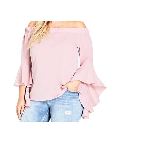 City Chic Women's Blouse Pink Size 24W Plus Off-the-Shoulder Ruffled