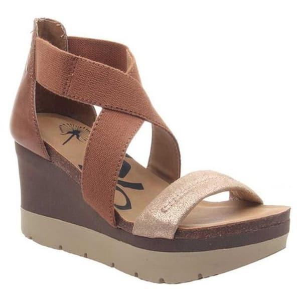 Shop Black Friday Deals On Otbt Women S Half Moon Wedge Sandal New Tan Stretch Fabric Overstock 28053558