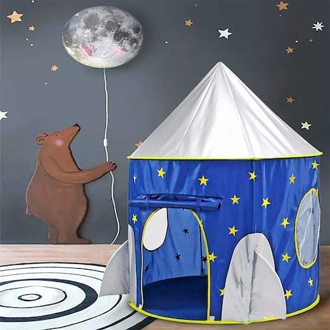 Rocket Ship Play Tent for Kids Indoor Pop Up Playhouse Tent for Child