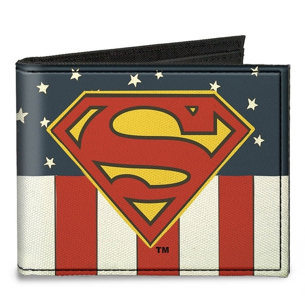 Superman Shield Americana Red White Blue Yellow Canvas Bi Fold Wallet One Size - One Size Fits most