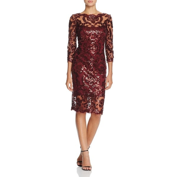 Tadashi Shoji Womens Evening Dress Sequined Mesh