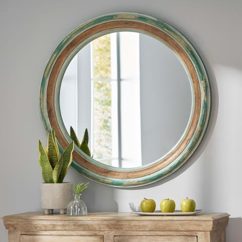 Jewell Indoor Wood Round Mirror by Christopher Knight Home