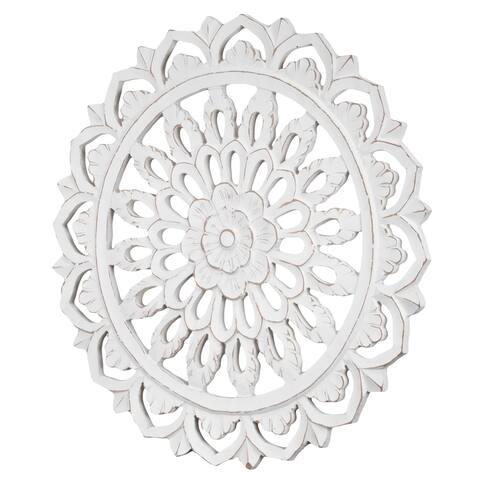 "American Art Decor Floral Mandala Wall Medallion - White (24"") - 24x24"