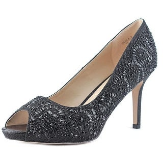 Lauren Lorraine Paula-2 Women Peep-Toe Canvas Black Heels