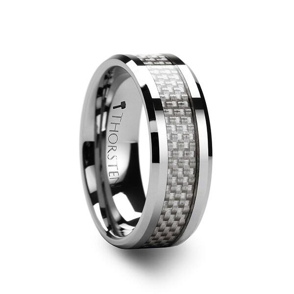 ROCKFORD White Carbon Fiber Inlay Tungsten Carbide Ring - 12mm