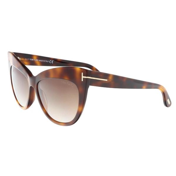 ac40c931455 Shop Tom Ford FT0523 S 53F NIKA Medium Havana Cat Eye Sunglasses ...