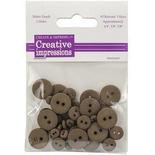 "Creative Impressions Resin Button Assortment 45/Pkg-Dark Umber 15 Each .25"", .375"" & .675"""