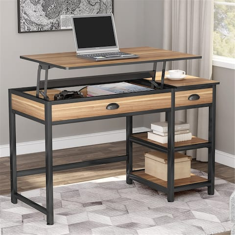 47 Inch Lift Top Computer Desk with Drawers and Shelves, Height Adjustable Standing Desk