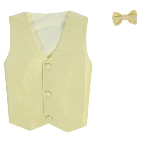 Baby Boys Yellow Poly Silk Vest Bowtie Special Occasion Set 3-24M