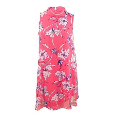 Jessica Howard Women's Plus Size Printed Chiffon Dress - Coral