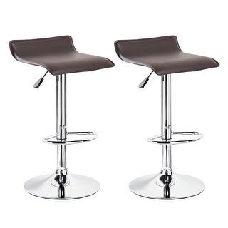Belleze Set of 2 Leather Modern Swivel Barstools Adjustable Hydraulic Lift Chair Bar Stool