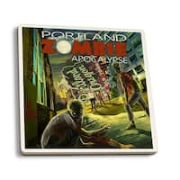 Portland, OR - Zombie Apocalypse - LP Artwork (Set of 4 Ceramic Coasters)