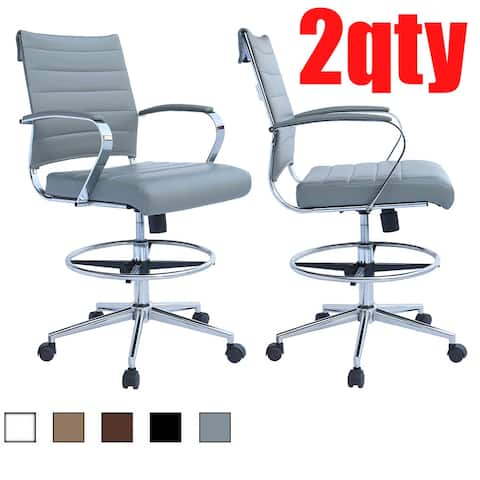 Set of 2 Modern Designer Ergonomic Office Drafting Chair with Arms Ribbed Computer Gray