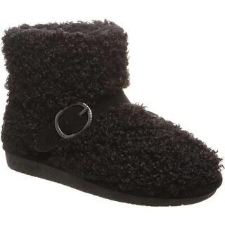 Bearpaw Women's Treasure Bootie Slipper Black II Faux Fur