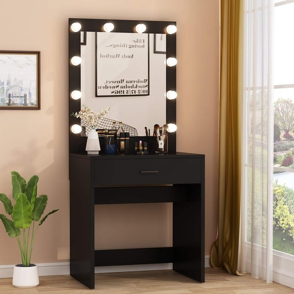 Vanity Table Makeup Table with 10 Warm Light Bulbs and Large Drawer. Opens flyout.