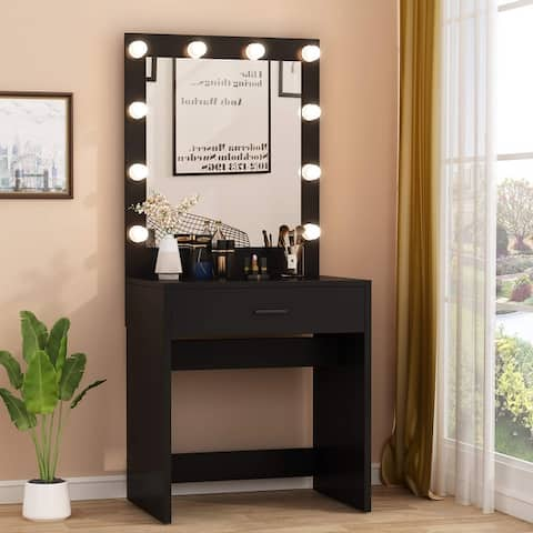 Vanity Table Makeup Table with 10 Warm Light Bulbs and Large Drawer