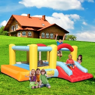 Link to Bounce House Inflatable Jumping Castle a Basketball Hoop With Ball And a Slide Similar Items in Outdoor Play