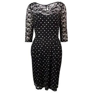 Betsey Johnson Women's Polka Dot Lace Pleated Dress