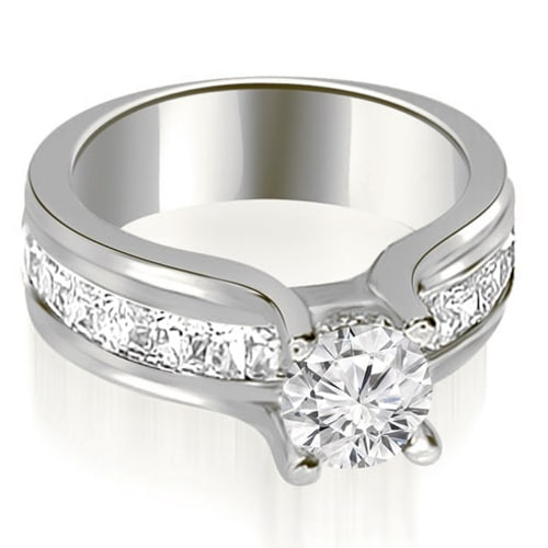 1.75 cttw. 14K White Gold Channel Round and Princess Diamond Engagement Ring