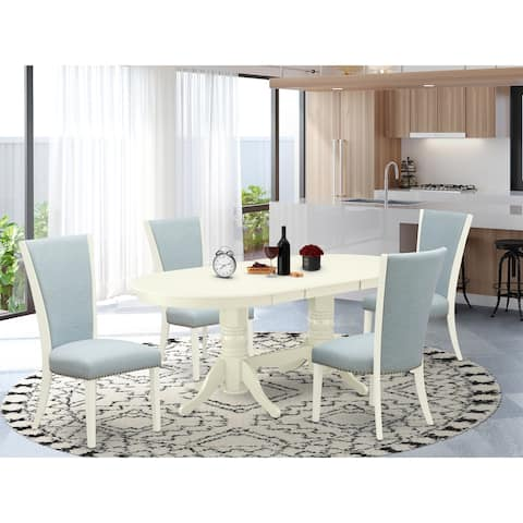 Dinette Set of Great Indoor Dining Chairs with Linen Fabric and Gorgeous Wood Table - Linen White Finish (Pieces Option)