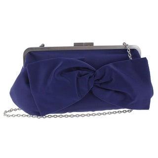 La Regale Womens Clutch Handbag Satin Bow - Small