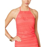 Island Escape Womens Sky High-Neck Crochet Tankini Top 12 Coral Swimsuit