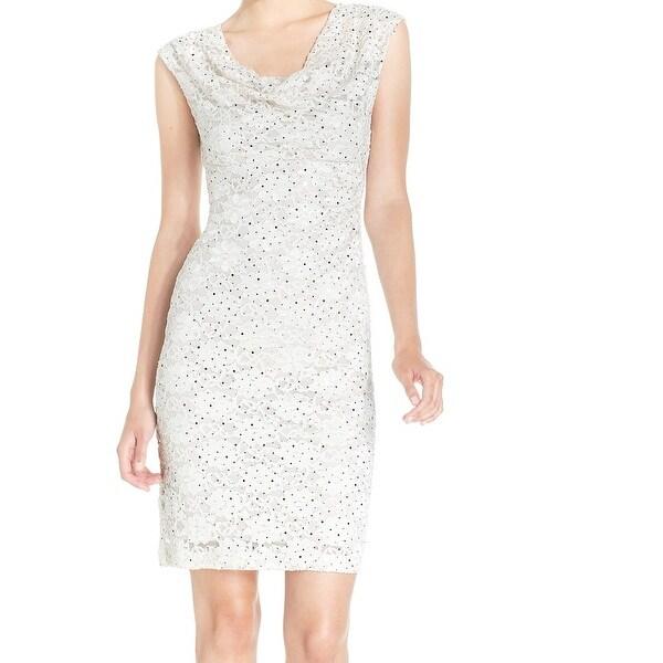 Cowl Neck Sheath Dresses: Shop Connected Apparel NEW Beige Women 8 Sheath Sequin