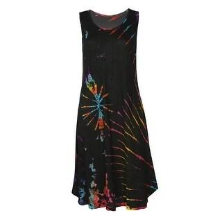 Women's Tie-Dye Sleeveless Dress - Knee Length Scoop Neckline Hand Dyed