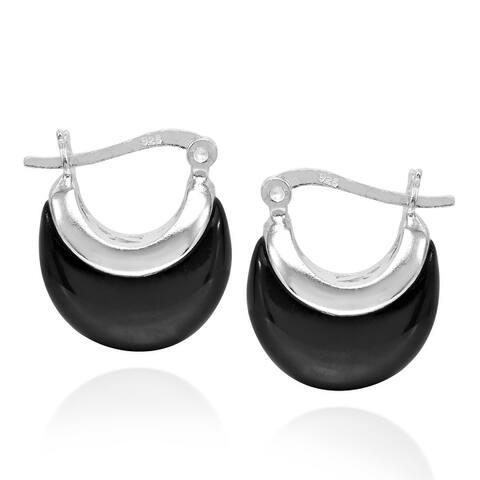 Handmade Crescent Moon 16mm Huggie Hoop .925 Sterling Silver Earrings (Thailand)