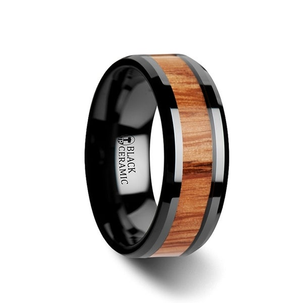 THORSTEN - OBLIVION Red Oak Wood Inlaid Black Ceramic Ring with Bevels