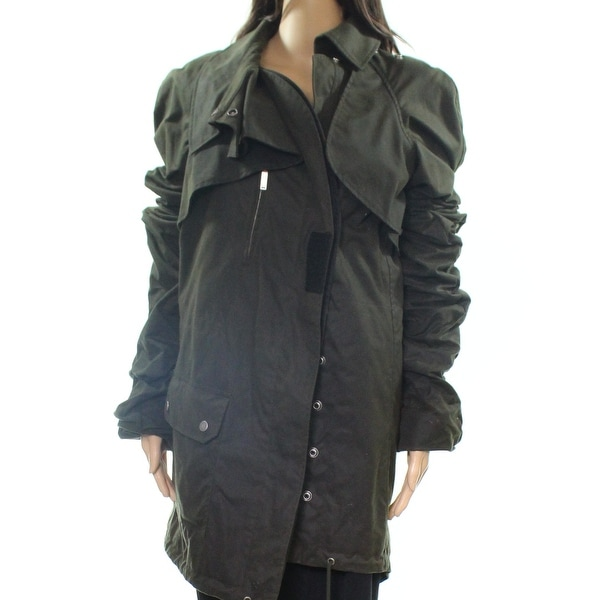 3de7a539 Shop Saint Laurent Green Women 4 Asymmetrical Front Military Jacket ...