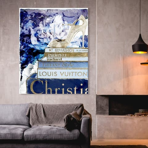 Oliver Gal 'What's On Your Mind Navy' Fashion and Glam Wall Art Canvas Print - Blue, Gold