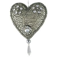 Set of 4 Hand Crafted Elegant Silver Bead Encrusted Silk Heart Christmas Ornaments 3""