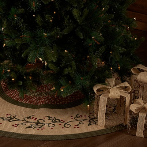 Holly Berry Jute Stencil Tree Skirt